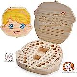 LATTCURE Zahnbox Holz Milchzähne Box, Milchzahndose aus Holz zur Deutsch Wort Milchzahnbox für Jungen Mädchen...
